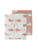 Set povijalnih tetra pleničk Fresk, 120x120 cm, roza kit, bio bombaž