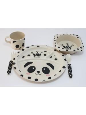 Jedilni set iz bambusa, okrogli panda