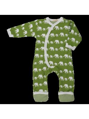 Pajac z dolgimi rokavi v zeleni barvi, slon, bio bombaž