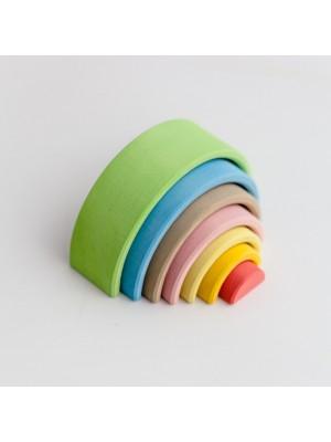 Lesena mavrica, 7 delna, pastelne barve