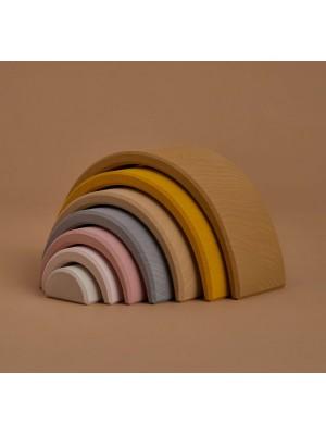 Lesena mavrica, 7 delna, peščene barve